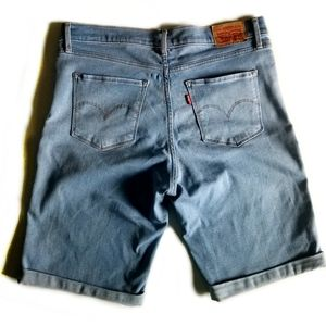 LEVI'S Long Cuffed Denim Shorts